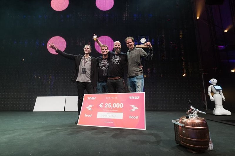 MiniBrew winning the pitch competition at The Next Web 2017