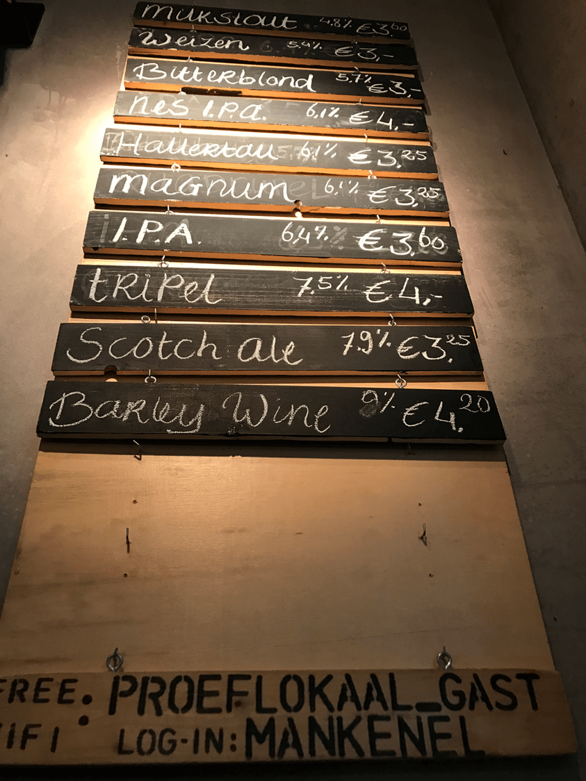 beer menu de prael